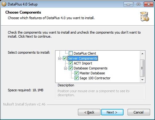FAQ ID # 60 - DataPlus 4 0 Sage 100 Contractor - Server Installation